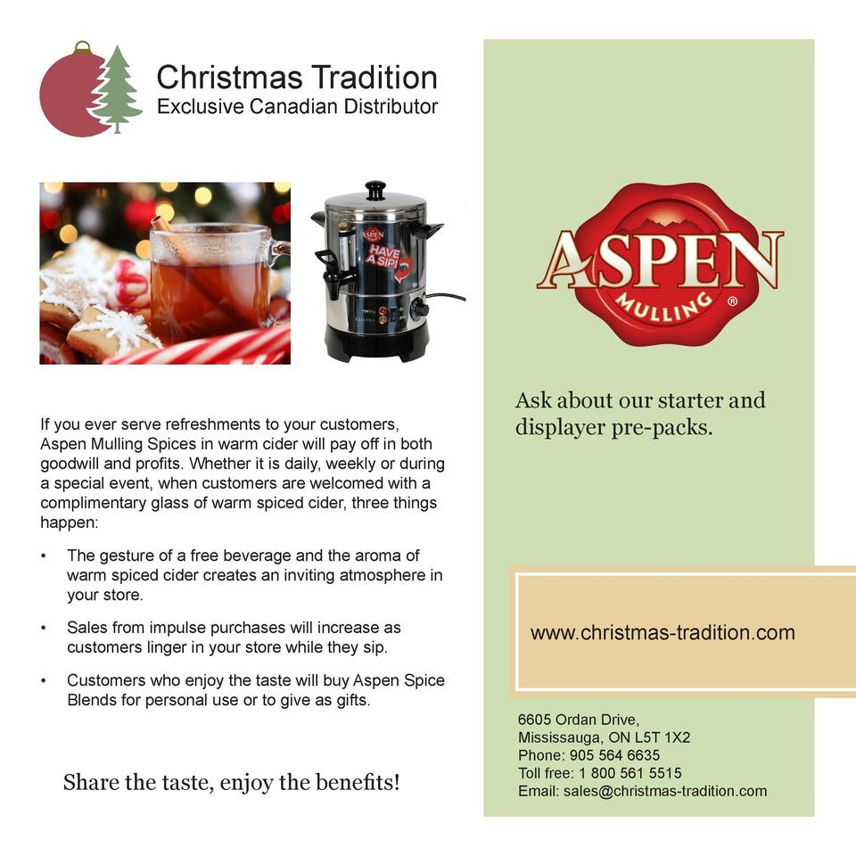 Christmas Tradition Exclusive Canadian Distributor  If you ever serve refreshments to your customers, Aspen Mulling Spices...